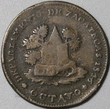 1846 Zacatecas 1/8 Real Mexico State AVF Octavo Rare Copper Coin (21030702R)