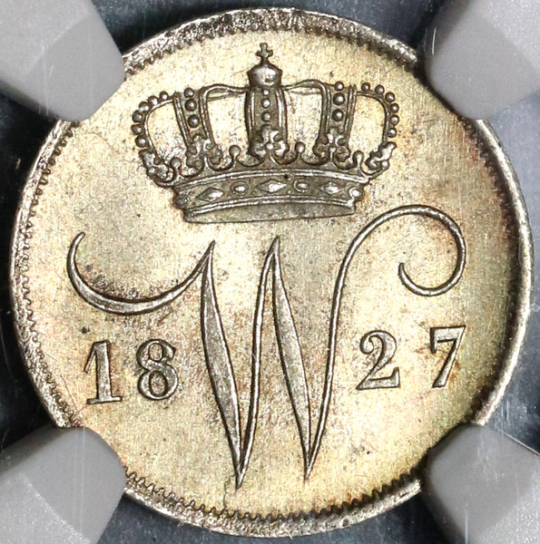 1827 NGC MS 66 Netherlands 10 Cents Mint State Silver Coin POP 3/0 (16120603C) 20021603C