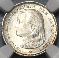 1897 NGC MS 63 Netherlands 10 Cents Queen Wilhelmina Mint State Silver Coin (20020302C)