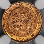 1906 NGC MS 65 Netherlands 1/2 Cent Coin Nearly Full RED (18090606C)