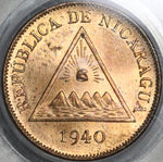1940 PCGS MS 64 Red Nicaragua 1 Centavo Volcanos Coin Full Red (21012004D)