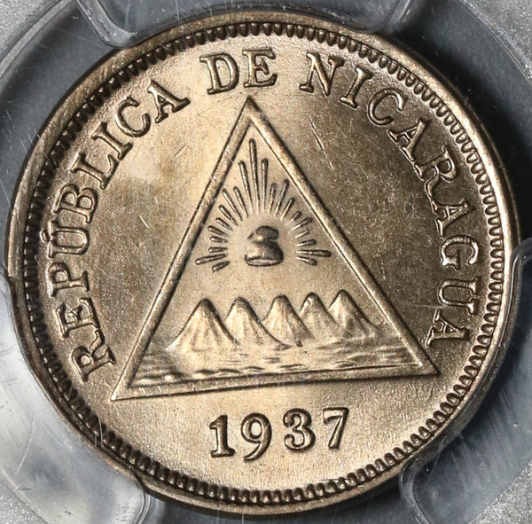 1937 PCGS MS 64 Nicaragua 5 Centavos Volcanos Coin (21012005D)