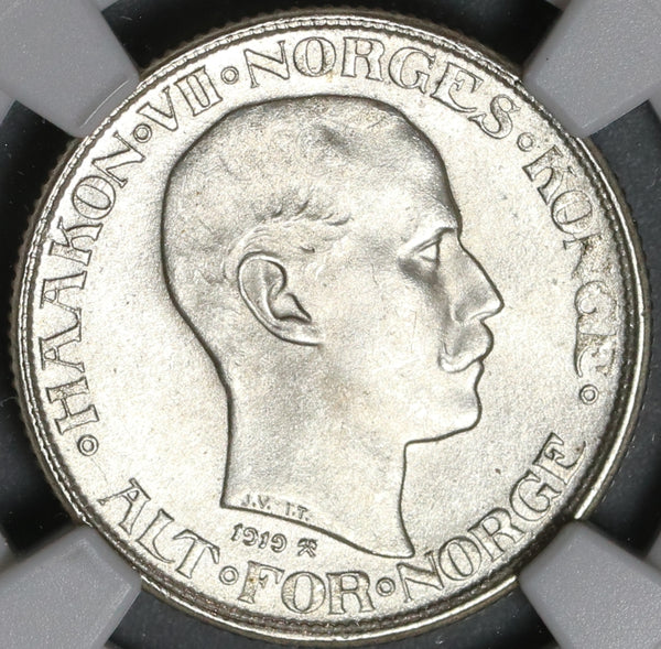 1919 NGC MS 65 Norway Silver 50 Ore Haakon VII Coin Pop 3/0 (21011002C)