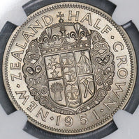 1951 NGC MS 64 New Zealand 1/2 Crown BU Coin (18083005C)