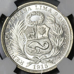 1915 NGC MS 65 Peru 1/2 Sol Silver Seated Liberty Mint State Coin (21030701C)