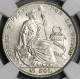 1929 NGC MS 63 PERU 1/2 Sol Silver Coin Lot A (18091106C)
