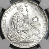 1914 NGC MS 65 Peru Sol Gem BU Seated Liberty Crown Coin (20040701D)