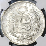 1914 NGC MS 65 Peru Sol Gem BU Seated Liberty Crown Coin (20042201C)