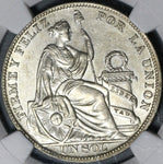 1931 NGC AU 58 Peru 1 Sol Silver Seated Liberty 24,000 Minted Coin (21012702C)