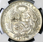 1933 NGC AU 58 Peru 1 Sol Silver Seated Liberty 5,000 Minted Coin (21012703C)
