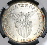 1908-S NGC MS 61 Philippines Peso Mint State Silver USA Coin (20013001C)