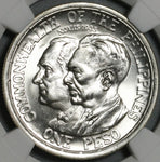 1936 NGC MS 65+ Philippines Peso Roosevelt Quezon Silver Commonweatlth Coin (21032201D)
