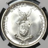 1936 NGC MS 65 Philippines Roosevelt Quezon 1 Peso Silver Commonwealth Commemorative Coin (20011402C)