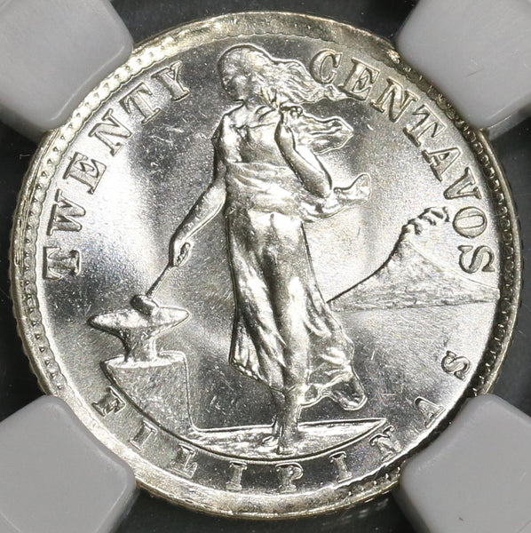 1941 NGC MS 65 Philippines 20 Centavos GEM Mint State Silver Coin (19061602C)