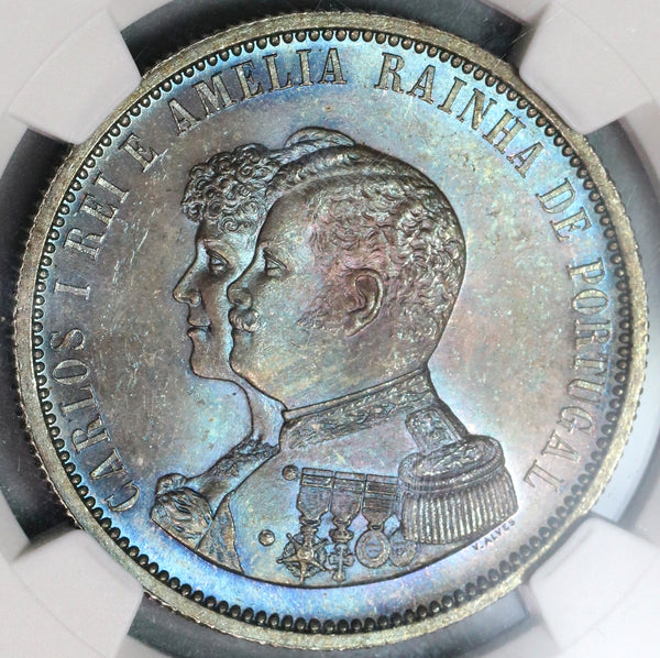 1898 NGC MS 65 Portugal 1000 Reis India Discovery Mint State Coin (19091903C)