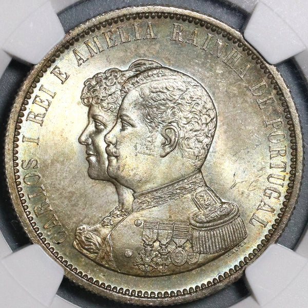 1898 NGC MS 65 Portugal 1000 Reis India Discovery Mint State Coin (21031302C)