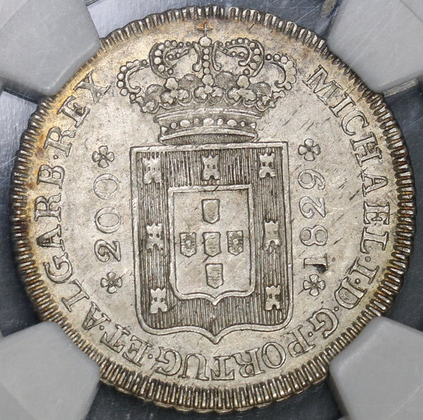 1829 NGC AU 58 Portugal 200 Reis Rare 2 Year Type Coin (18122103C)