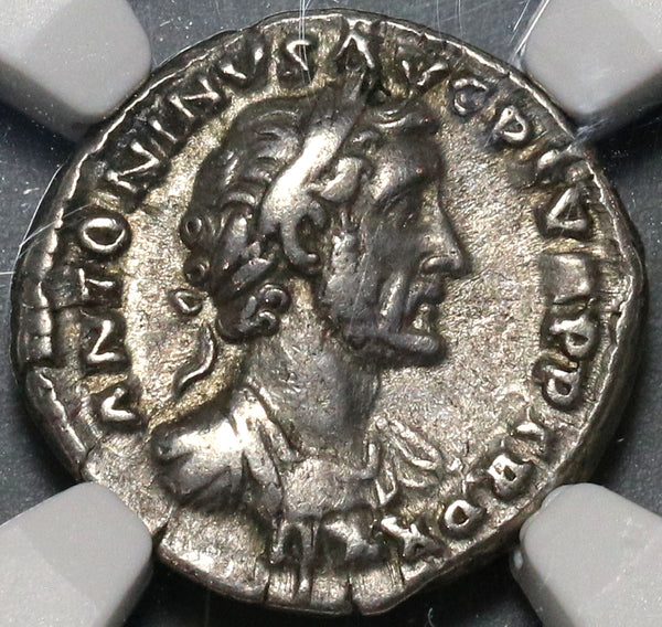 158 NGC ChVF Antoninus Pius Roman Empire Denarius Unpublished Portrait Historic Commemorative (21032301C)