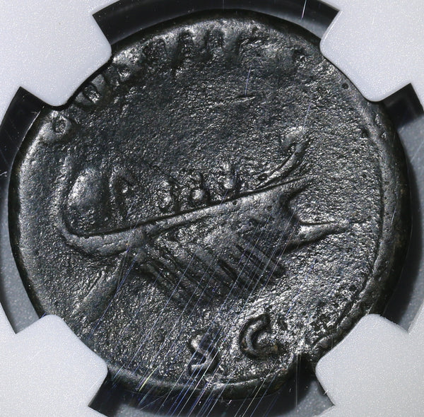 125 NGC VF Hadrian Roman Empire AE As War Galley Ship Rowers Pilot (19042602C)