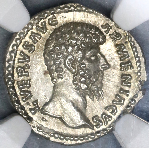 163 Lucius Verus NGC MS Roman Empire Denarius Mars Mint State Ancient Coin (19060903C)