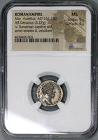 164 NGC MS Marcus Aurelius Denarius Armenia Conquest Roman Empire Commemorative Coin (18122201C)
