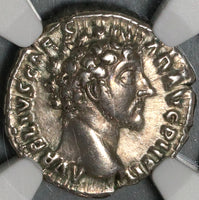 153 NGC Ch VF Marcus Aurelius Caesar Roman Empire Denarius Genius of the Legions (20071206C)