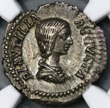 202 NGC Ch XF Plautilla Roman Empire Denarius Pietas Wife of Caracalla Pedigree (19042803C)