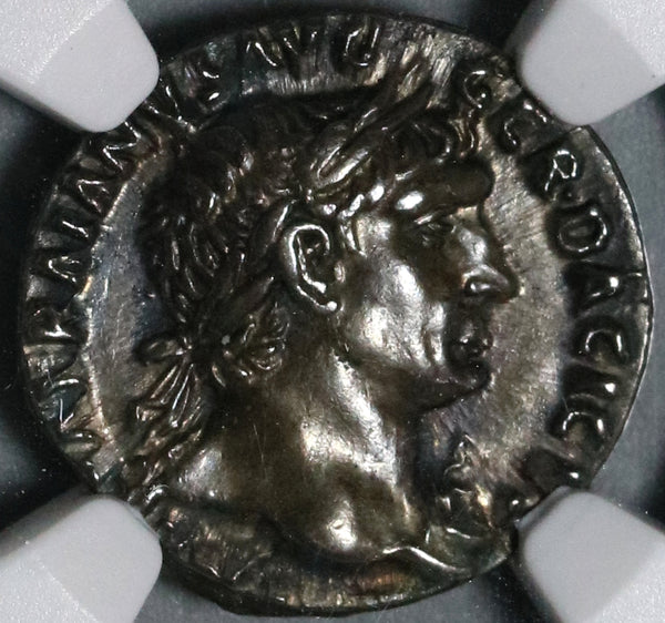103 NGC AU Trajan Roman Empire Denarius Victory Unpublished Portrait with Aegis (20072201C)