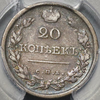 1820/19 PCGS VF 20 Russia Silver 20 Kopeks Czar Alexander I Bold Over-date Coin POP 1/0 (20091702C)