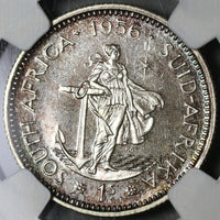 1956 NGC PF 66  South Africa Proof 1 Shilling Silver Coin 1.7k (21012801C)