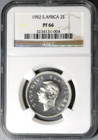 1952 NGC PF 66 South Africa Proof 2 Shillings Florin Silver Coin (19100703C)