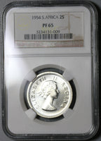 1954 NGC PF 65 South Africa Proof 2 Shillings Florin Silver Coin Mintage 3,150 (19100704C)