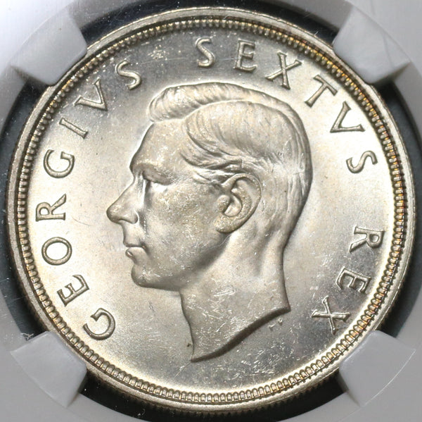 1948 NGC MS 64 South Africa 5 Shillings Springbok Silver Crown Coin (19101003C)