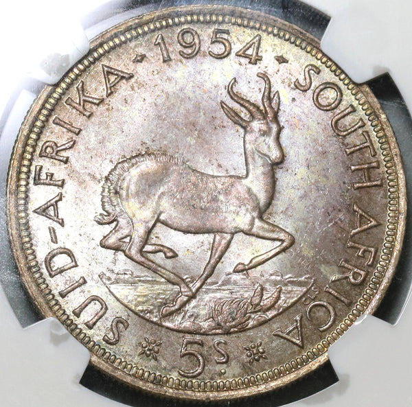 1954 NGC MS 63 South Africa 5 Shillings Springbok Silver 10K Coin (19101104C)