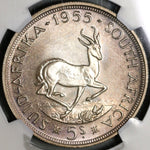 1955 NGC PF 65 South Africa 5 Shillings Elizabeth Silver Proof Springbok Coin (21012805C)