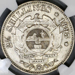 1895 NGC XF South Africa 2 1/2 Shillings ZAR Silver 1/2 Crown Coin (18061104C