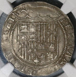 1474 NGC AU 53 Spain Ferdinand Isabella 1 Real Columbus Seville Mint Silver Coin (20012403C)
