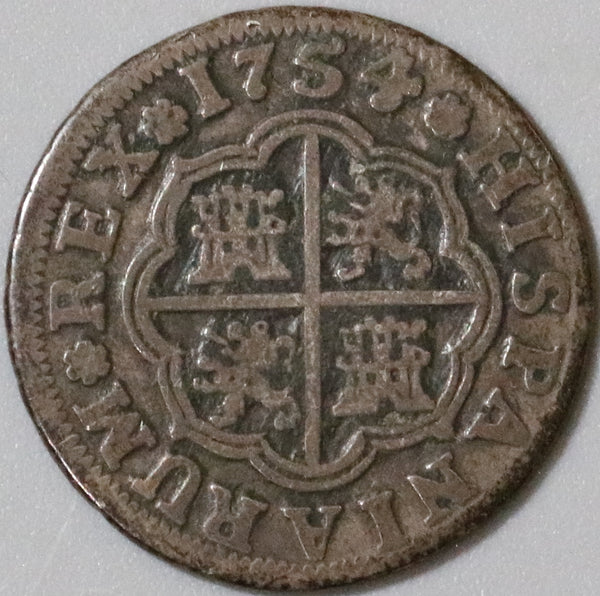 1754-S Spain 1 Real VF Ferdinand VI Seville Mint Silver Coin (21021201S)