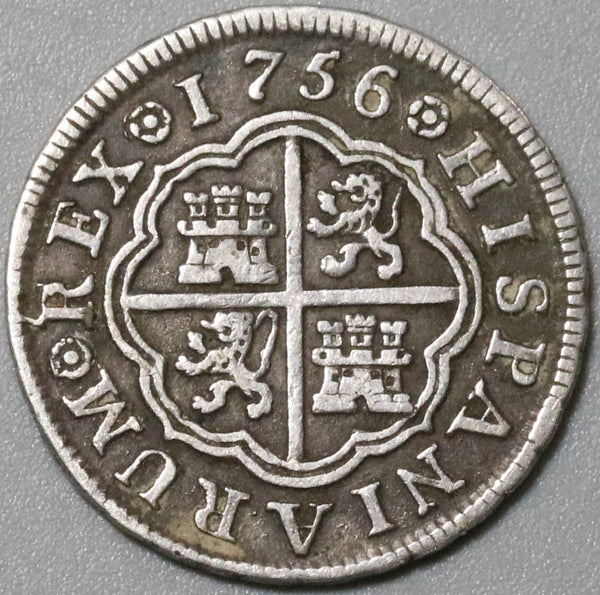 1756-M Spain 1 Real XF Ferdinand VI Madrid Mint Silver Coin (20061701R)
