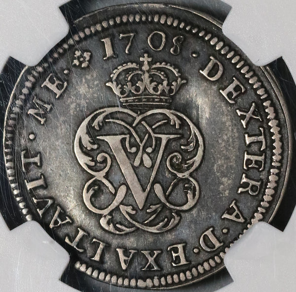 1708 NGC XF 40 Spain 2 Reales Philip V Silver Segovia Coin POP 2/0 (21020803R)