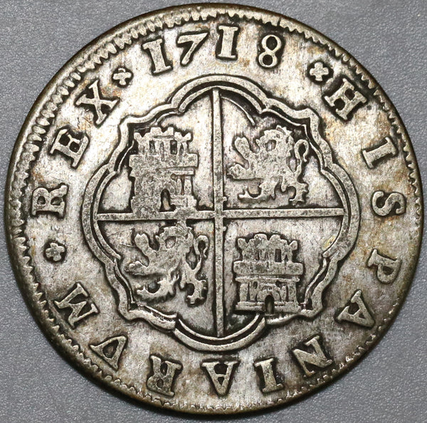 1718 Spain 2 Reales Philip V Silver Segovia Mint VF Colonial Coin (20121703R)