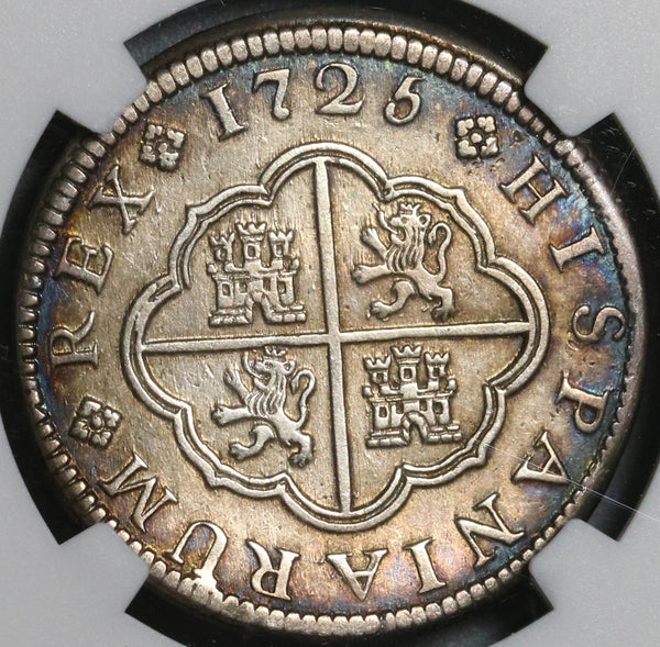 1725-CA NGC AU Det Spain 2 Reales Philip V Silver Scarce Cuenca Mint Coin (21021902C)