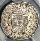 1727-F PCGS AU 55 Spain 2 Reales Philip V Silver Segovia Mint Coin (20091501C)