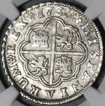1736-S PA NGC AU 55 Spain 2 Reales Philip V Silver Seville Coin POP 2/0 (21051305C)