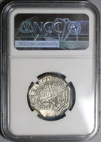 1597-MG NGC AU 55 Spain 4 Reales Philip II Granada Mint Cob Silver Coin (20010501C)