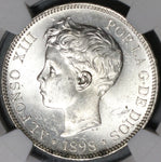 1898 NGC MS 62 Spain 5 Pesetas Silver Alfonso XIII Mint State Coin (21021903C)