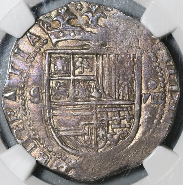 1556 NGC XF 45 Spain 8 Reales Philip II Seville Cob Silver Coin (20112304C)