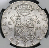 1818/28-M NGC VF 25 Spain 8 Reales Rare Date Error Silver Coin POP 1/0 (20090302C)