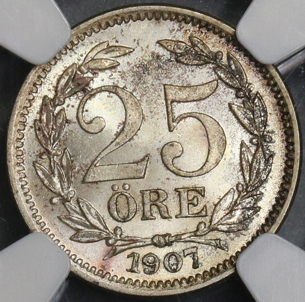 1907 NGC MS 65 Sweden 25 ore 1 Year Type Oscar II Silver Coin (18082604C)