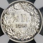 1898 NGC MS 64 Switzerland 1/2 Franc BU Swiss Silver Coin (18072202C)